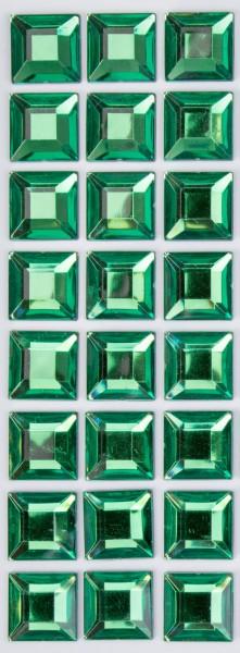 Glitzersteine grün, 15 x 15 x 3 mm, selbstklebend