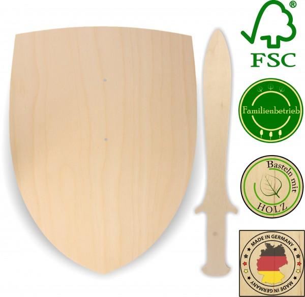 Ritterschild und Dolch als Set aus 3mm Birkensperrholz