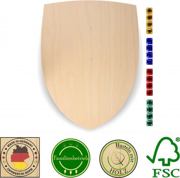 Ritterschild aus 3 mm Birkensperrholz mit 16 großen Glitzersteinen