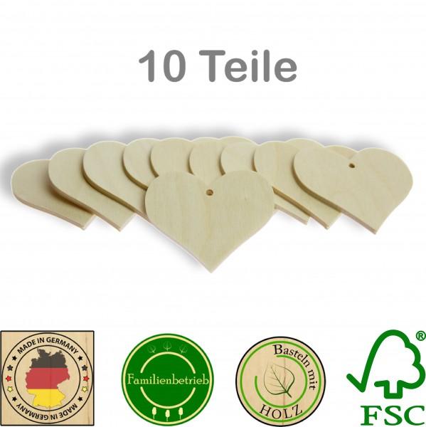 10 Stück Streudeko Herz mit Bohrung, Holz Natur