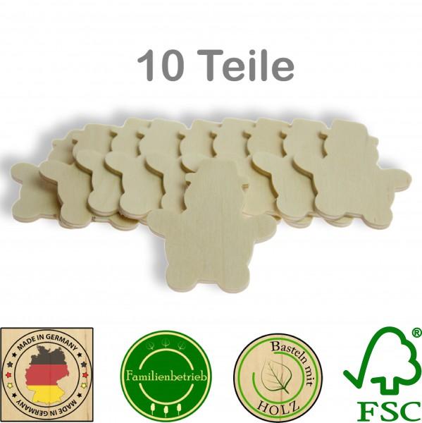 10 Stück Streudeko Schneemann ohne Bohrung, Holz Natur