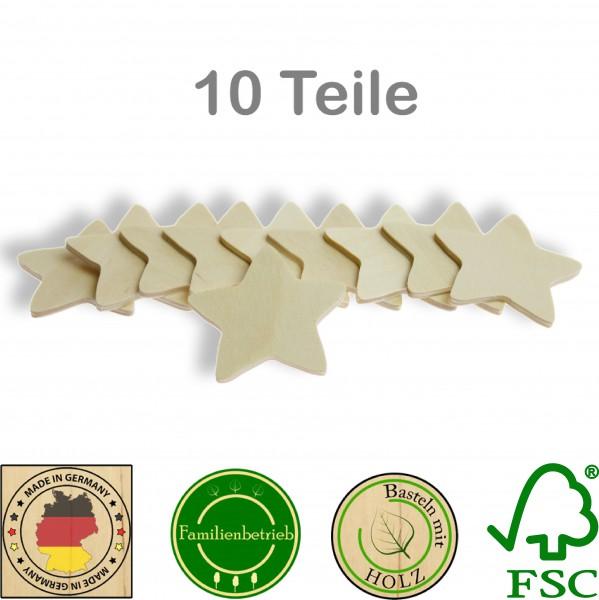 10 Stück Streudeko Stern ohne Bohrung, Holz Natur