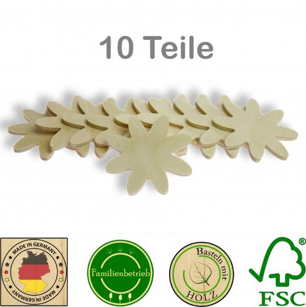 10 Stück Streudeko Blüte ohne Bohrung, Holz Natur