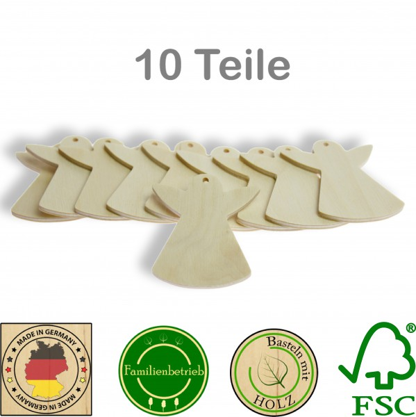 10 Stück Streudeko Engel mit Bohrung, Holz Natur