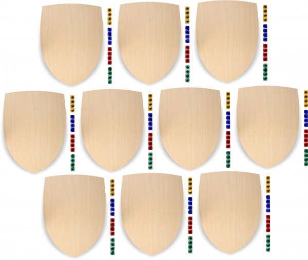 10x Ritterschild aus 3mm Birkensperrholz mit 160 großen Glitzersteinen