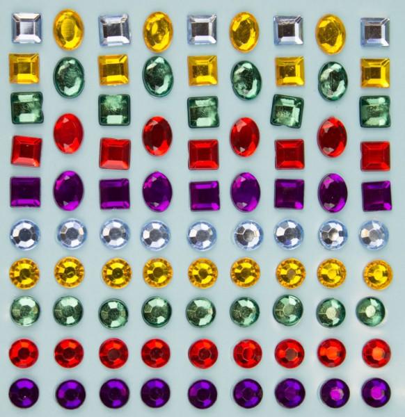 """Glitzersteine """"Bunte Mischung"""", 5 Farben, 3 Formen, 6-10mm, selbstklebend"""