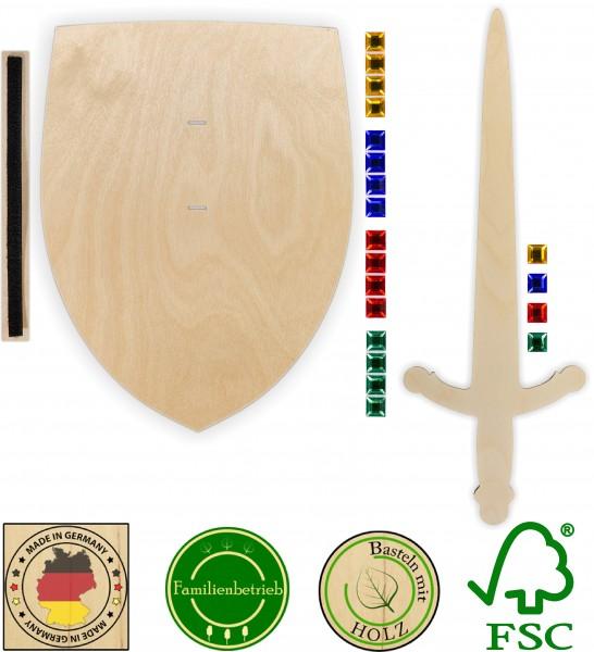 Ritterschild und Ritterschwert als Set aus 3mm Birkensperrholz mit Glitzersteinen und Halteschlaufe