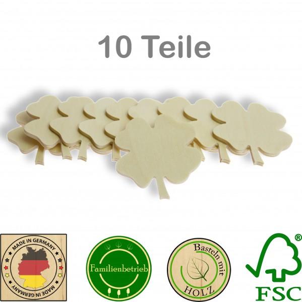 10 Stück Streudeko Kleeblatt ohne Bohrung, Holz Natur