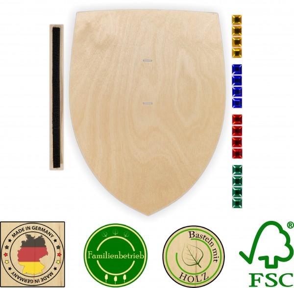 Ritterschild aus 3 mm Birkensperrholz mit 16 großen Glitzersteinen und Halteschlaufe