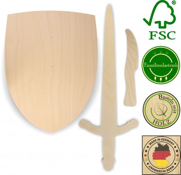Ritterschild, Ritterschwert und Messer als Set aus 3mm Birkensperrholz