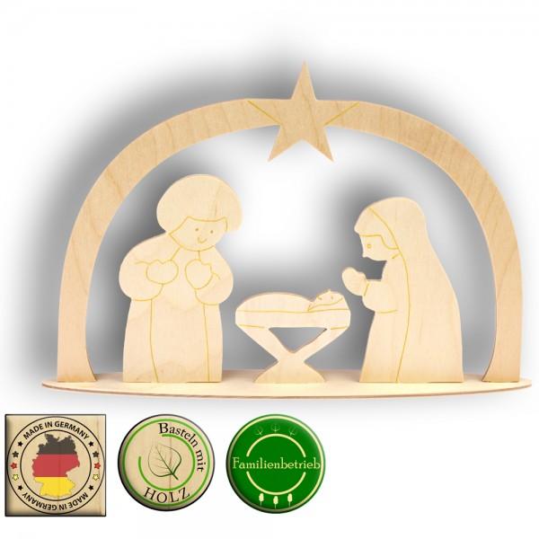 Maria, Josef und Krippe unterm Sternenbogen