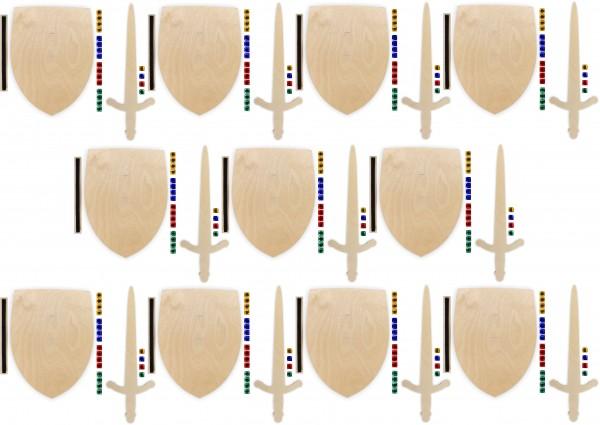 10x Ritterschild und Ritterschwert als Set aus Birkensperrholz mit Glitzersteinen und Halteschlaufe