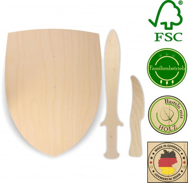 Ritterschild, Dolch und Messer als Set aus 3mm Birkensperrholz