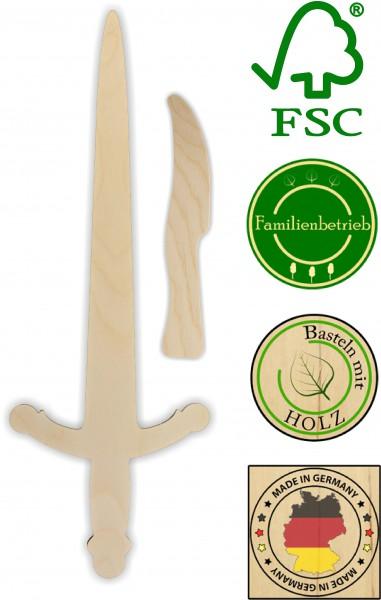 Ritterschwert und Messer als Set aus 3mm Birkensperrholz