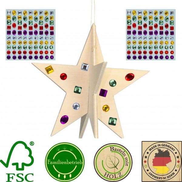 10 Stück 3D Weihnachtsstern 10cm zum Zusammenstecken mit 172 selbstklebenden Glitzersteinen