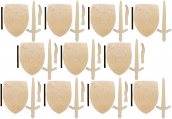 10x Ritterschild, Ritterschwert und Messer als Set aus Birkensperrholz m. Halteschlaufe aus Klett