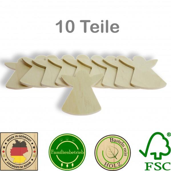 10 Stück Streudeko Engel ohne Bohrung, Holz Natur