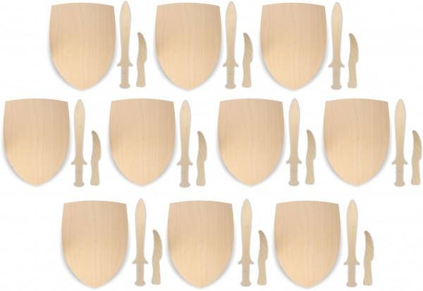 10x Ritterschild, Dolch und Messer als Set aus 3mm Birkensperrholz