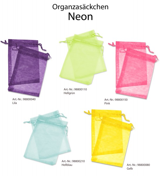 """Organzaset - """"Neon"""" - Organzasäckchen 13x18 cm"""