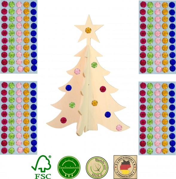 10 Stück 3D Weihnachtsbaum mit Stern inkl. 200 selbstkelbenden Glitzersteinen, ca. 18cm