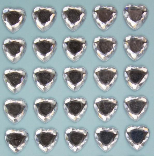 Glitzersteine in Herzform, klar, 10mm, selbstklebend