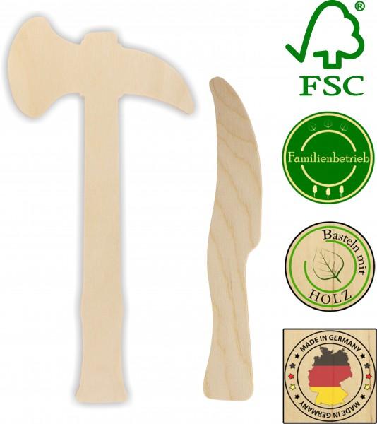 Tomahawk und Messer als Set aus 3mm Birkensperrholz