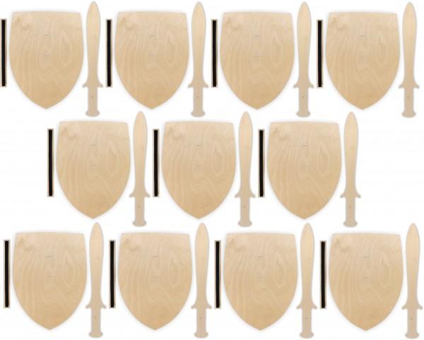 10x Ritterschild und Dolch als Set aus Birkensperrholz m. Halteschlaufe aus doppelseitigem Klettband
