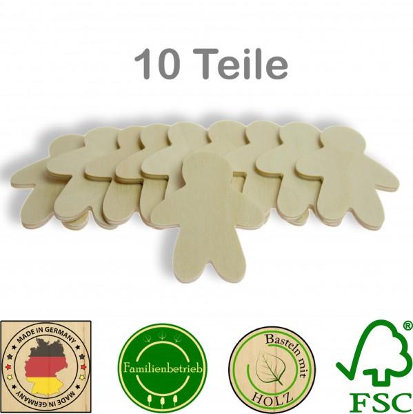 10 Stück Streudeko Lebkuchenmann ohne Bohrung, Holz Natur
