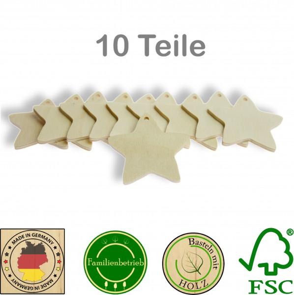 10 Stück Streudeko Stern mit Bohrung, Holz Natur