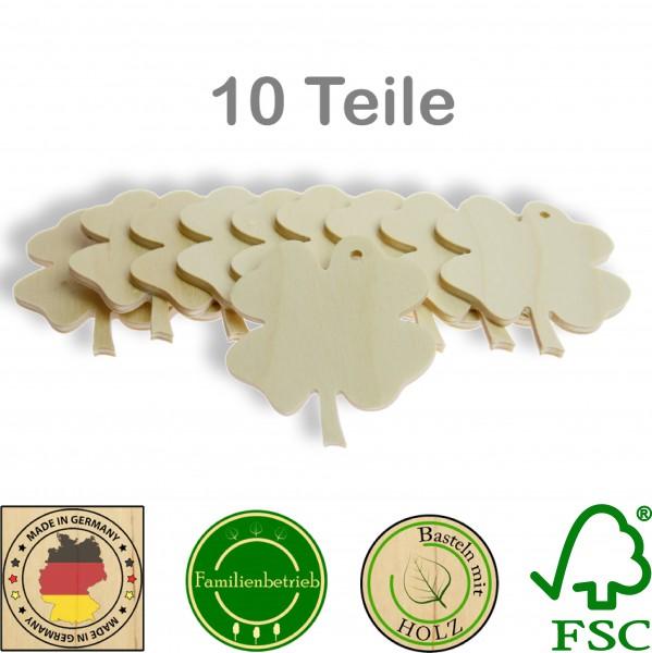 10 Stück Streudeko Kleeblatt mit Bohrung, Holz Natur