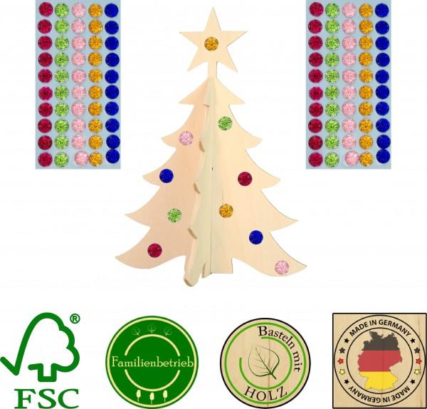 5 Stück 3D Weihnachtsbaum mit Stern inkl. 100 selbstkelbenden Glitzersteinen, ca. 18cm