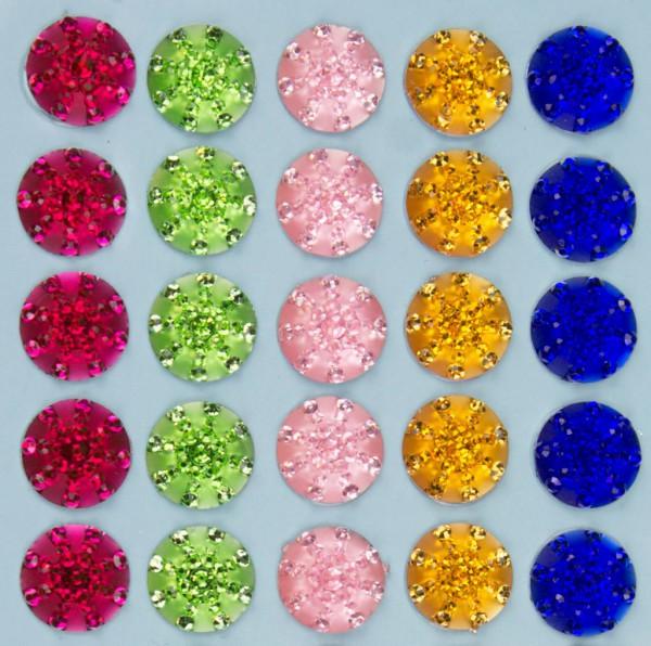 """Glitzersteine """"Kristallzauber"""", 5 Farben, 10mm, selbstklebend"""