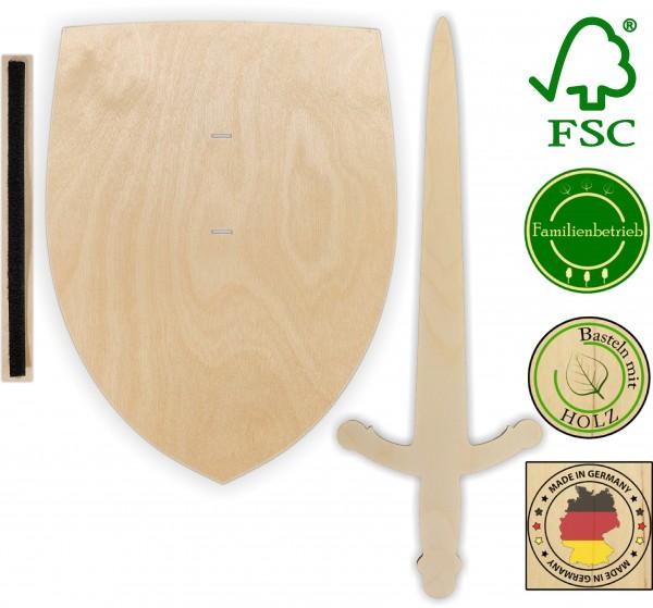 Ritterschild und Ritterschwert als Set aus 3 mm Birkensperrholz mit Halteschlaufe aus Klettband