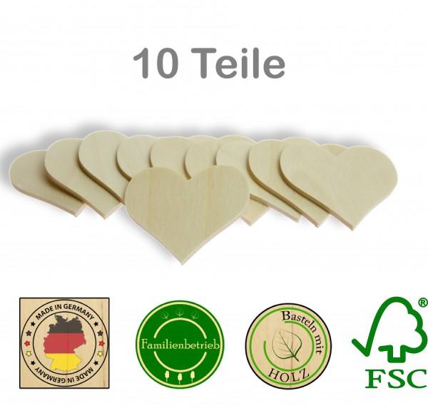 10 Stück Streudeko Herz ohne Bohrung, Holz Natur
