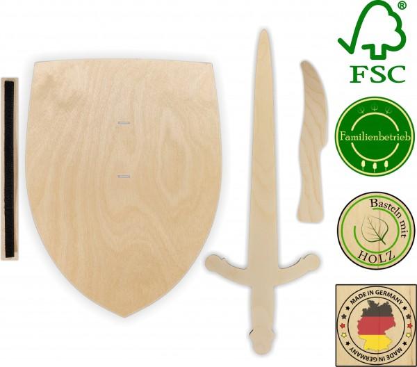 Ritterschild, Ritterschwert und Messer als Set aus Birkensperrholz mit Halteschlaufe aus Klettband