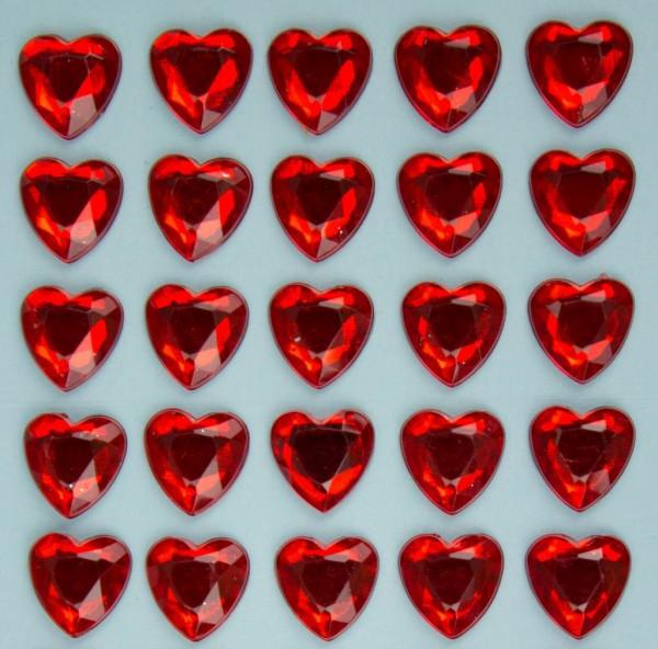 Glitzersteine in Herzform, rot, 10mm, selbstklebend
