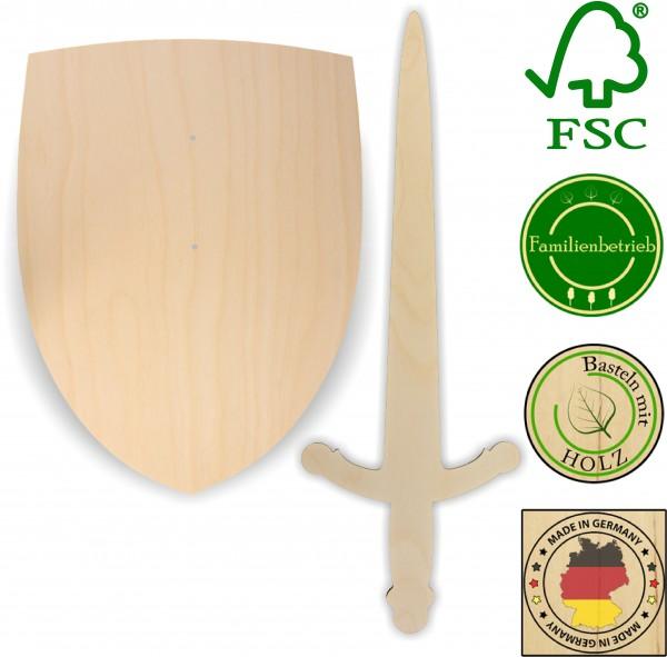 Ritterschild und Ritterschwert als Set aus 3 mm Birkensperrholz