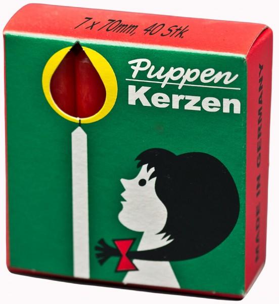 40 Stück Puppenkerzen 70 x 7mm, rot, Weihnachtsbaumkerze