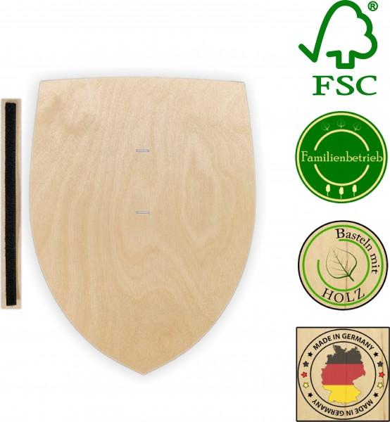 Ritterschild aus 3 mm Birkensperrholz mit Halteschlaufe aus doppelseitigem Klettband