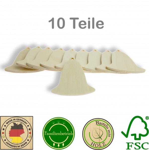 10 Stück Streudeko Glocke mit Bohrung, Holz Natur