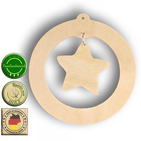 Weihnachtskugel mit Stern zum Einhängen