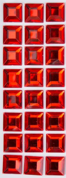 Glitzersteine rot, 15 x 15 x 3 mm, selbstklebend