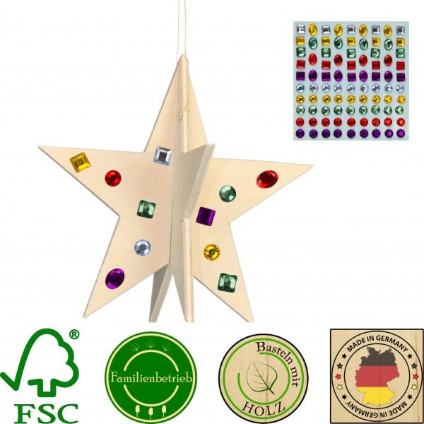 5 Stück 3D Weihnachtsstern 10cm zum Zusammenstecken mit 86 selbstklebenden Glitzersteinen