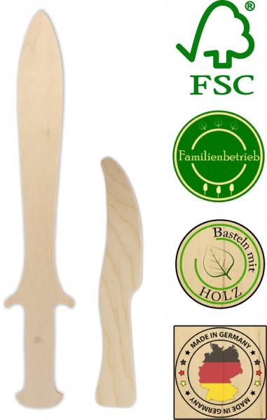 Piratendolch und Messer als Set aus 3mm Birkensperrholz