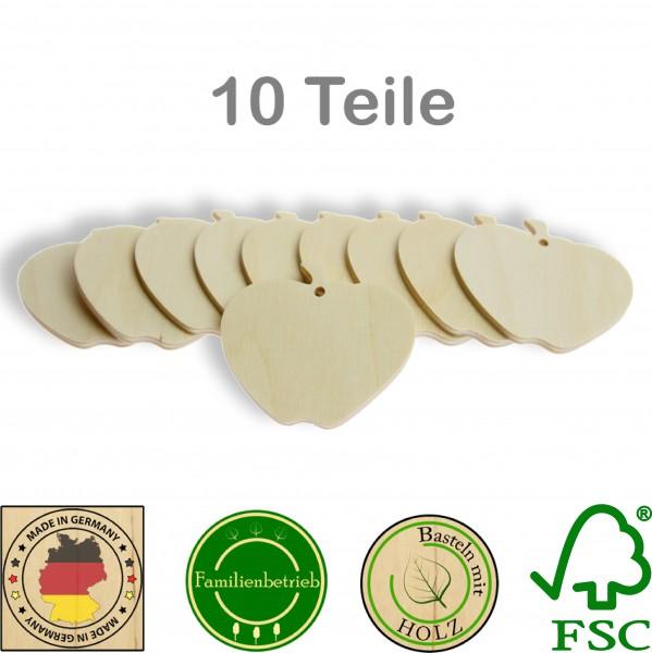 10 Stück Streudeko Apfel mit Bohrung, Holz Natur