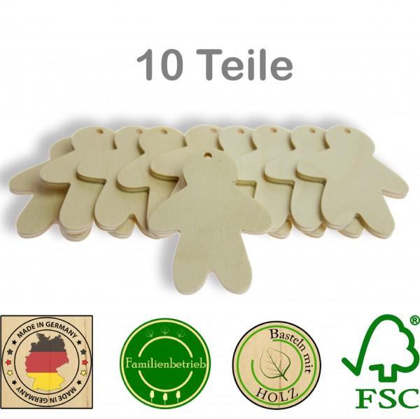 10 Stück Streudeko Lebkuchenmann mit Bohrung, Holz Natur