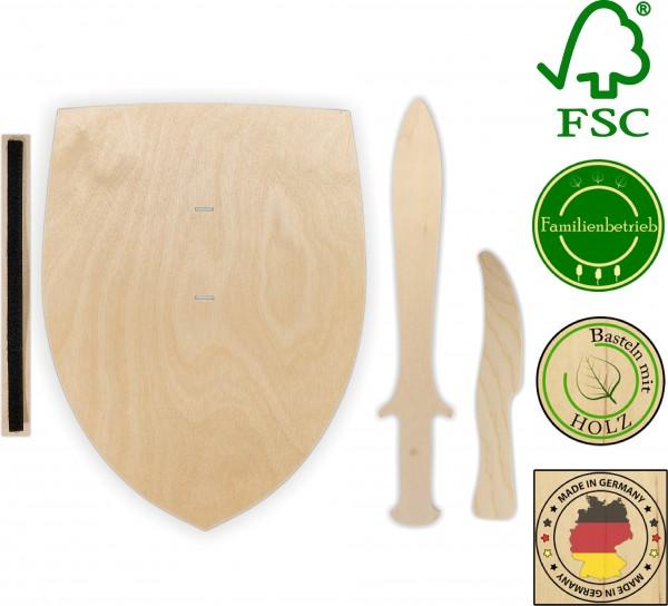 10x Ritterschild, Dolch und Messer als Set aus 3mm Birkensperrholz mit Halteschlaufe aus Klettband