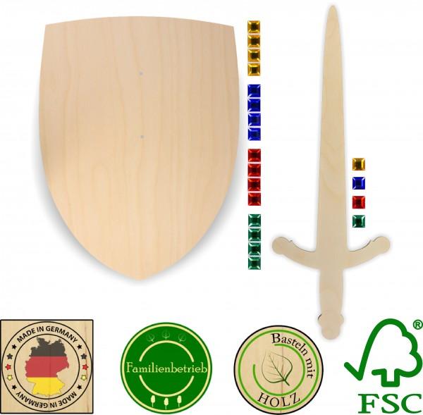 Ritterschild und Ritterschwert als Set aus 3mm Birkensperrholz mit 20 großen Glitzersteinen