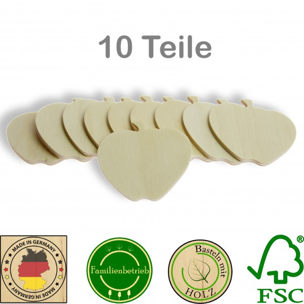 10 Stück Streudeko Apfel ohne Bohrung, Holz Natur