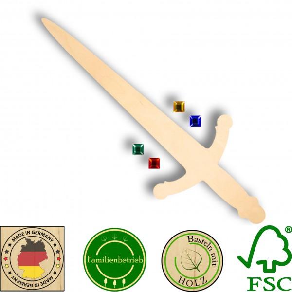 Ritterschwert aus 3 mm Birkensperrholz mit 4 großen Glitzersteinen